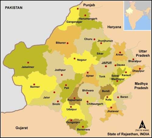 Mapa de Estado de Rajastán