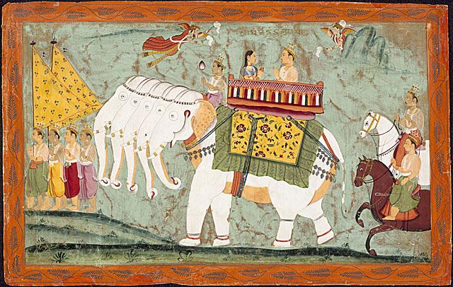 Indra y su esposa sobre su vehiculo