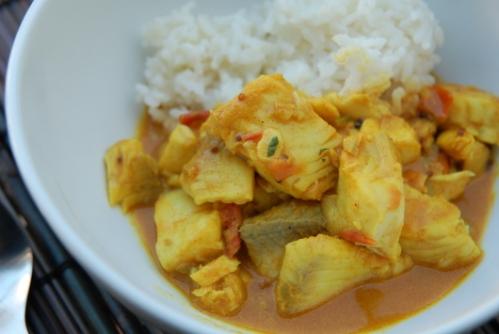 Curry de pescado y leche de coco
